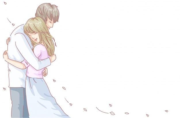 恋人たちは抱擁します。ロマンチックなデートを持つ愛のカップル。ベクトル落書き手描きスタイル。バレンタイン・デー Premiumベクター
