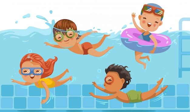 男の子と女の子が水着で泳ぐ子供たち Premiumベクター
