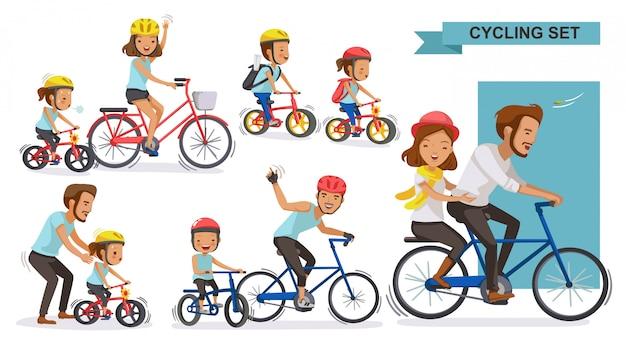 サイクリングカップルセット。一緒に自転車に乗って幸せな家族。親、父権、母性、 Premiumベクター