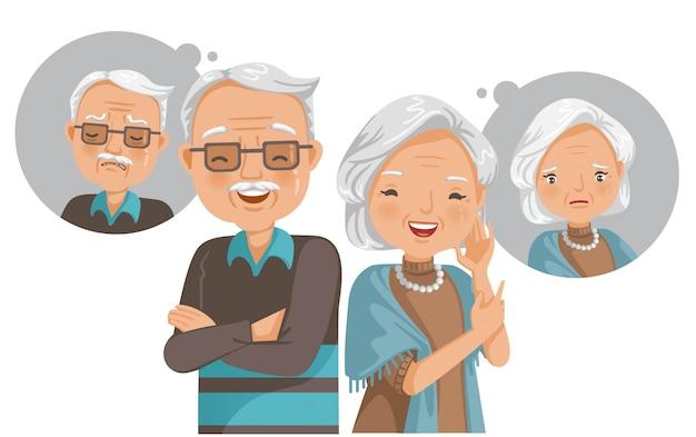 Концепция психического здоровья пожилых людей. страдание и счастье. чувство внутри Premium векторы
