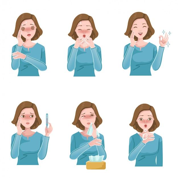 女性の病気セット。患者の症状。咳、くしゃみ、発熱、鼻づまり、頭痛、喘鳴。インフルエンザ Premiumベクター