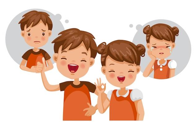 精神的な子供の概念。苦しみと幸福。内側の感じ。 Premiumベクター