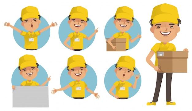 Доставка человек векторный набор. доставщик униформа держит коробку или товар. поза полного стояния и удержания или наведения. Premium векторы