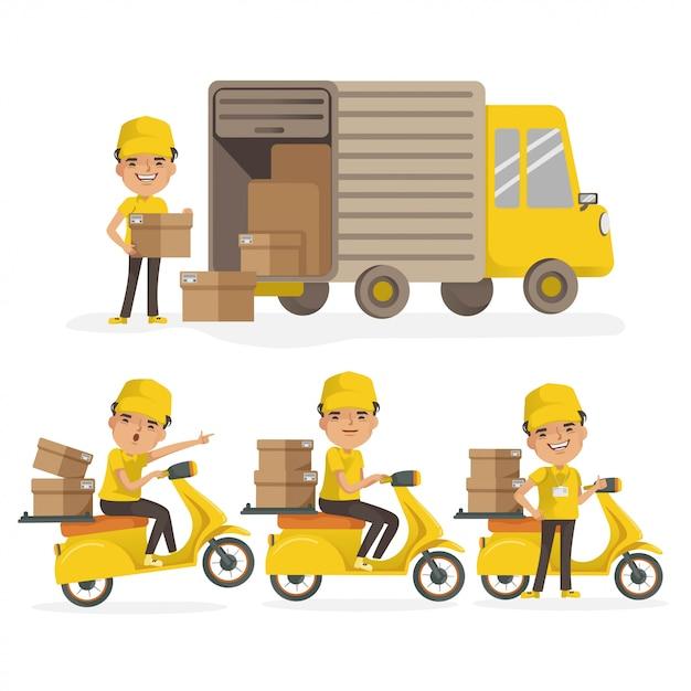 Доставка грузовика водителю и доставка мотоцикла. доставка человек равномерное проведение коробки. служба доставки установлена. вектор изолированы. Premium векторы
