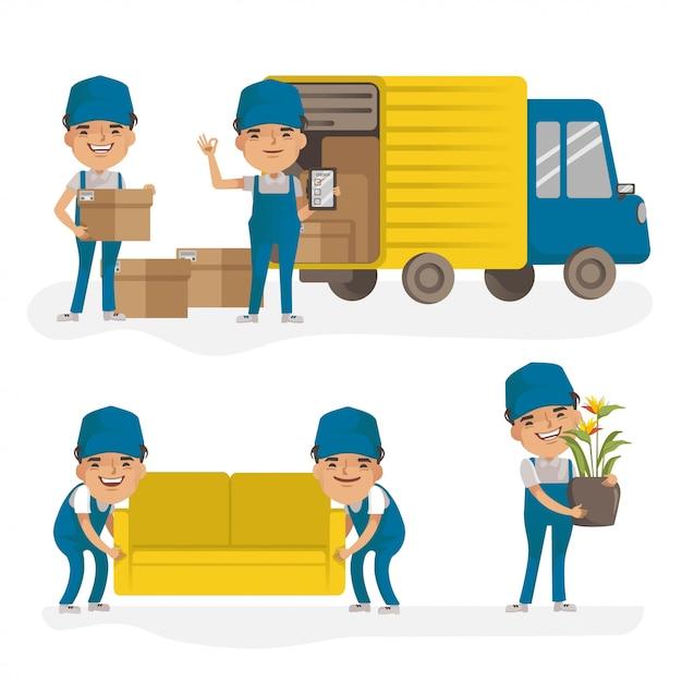 Водитель грузовика доставки и человек доставки товаров. доставка человек равномерное проведение коробки. служба доставки. Premium векторы