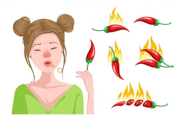 かわいい十代の女の子はチリを食べています Premiumベクター