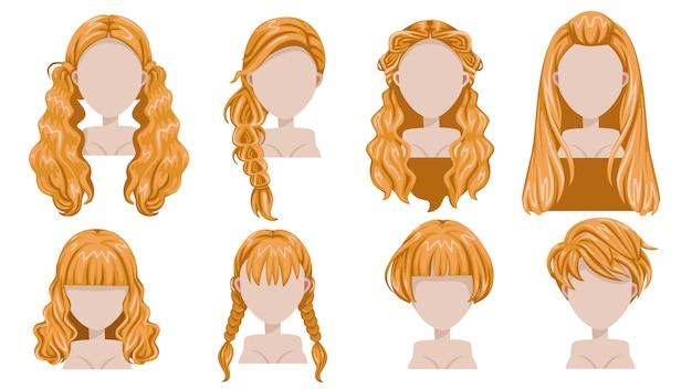 品揃えのための女性現代ファッションのブロンドの髪。長い髪、短い髪、巻き毛のトレンディな散髪アイコンを設定。 Premiumベクター