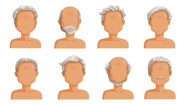 老人の髪の毛。男性漫画のヘアスタイルの白髪セット。ひげと老人のひげ。おしゃれなお洒落なタイプのコレクション Premiumベクター