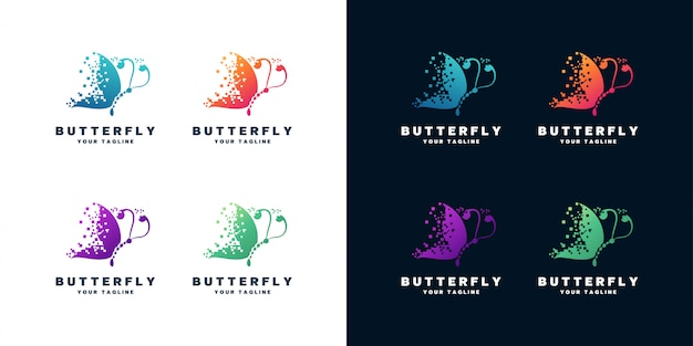 Набор дизайн логотипа бабочки Premium векторы