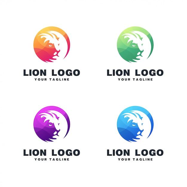 ライオンの葉のロゴデザイン Premiumベクター