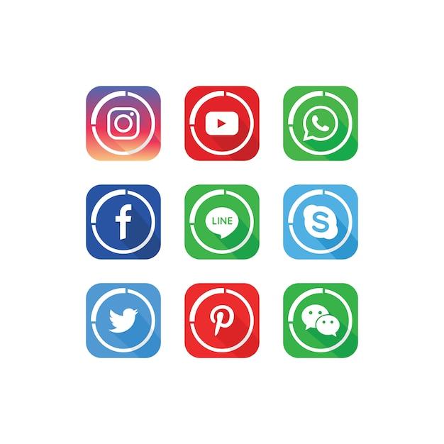 人気のソーシャルメディアアイコンテンプレートのコレクション Premiumベクター