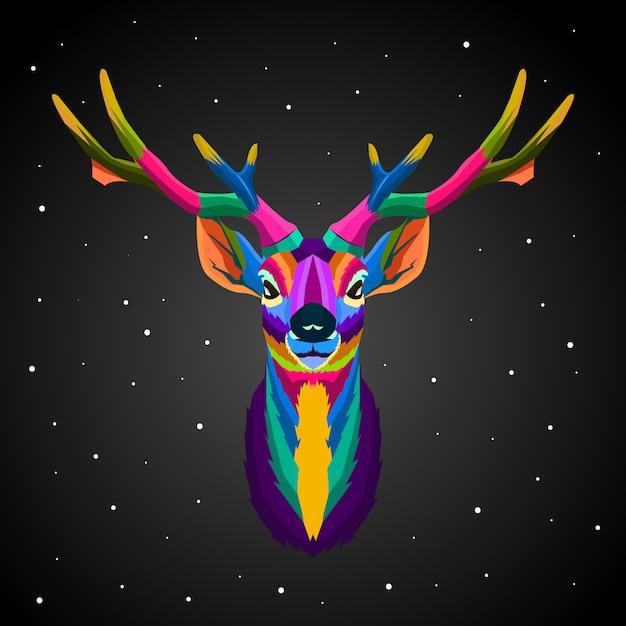 カラフルな鹿ポップアートの背景黒と星の図 Premiumベクター