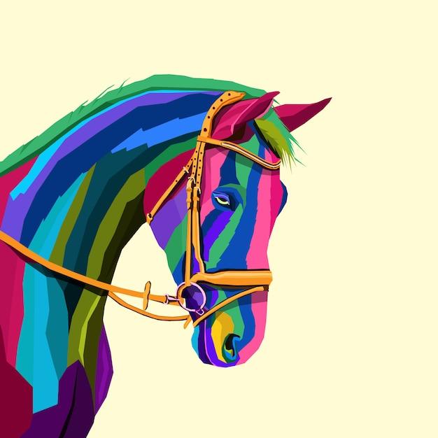 Красочная лошадь креативное произведение искусства в стиле поп-арт Premium векторы