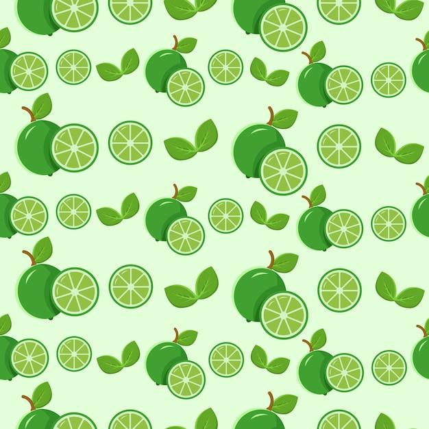 シームレスパターングリーンレモンと葉 Premiumベクター