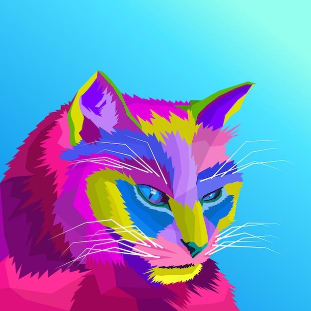 Красочный кот поп-арт вектор Premium векторы