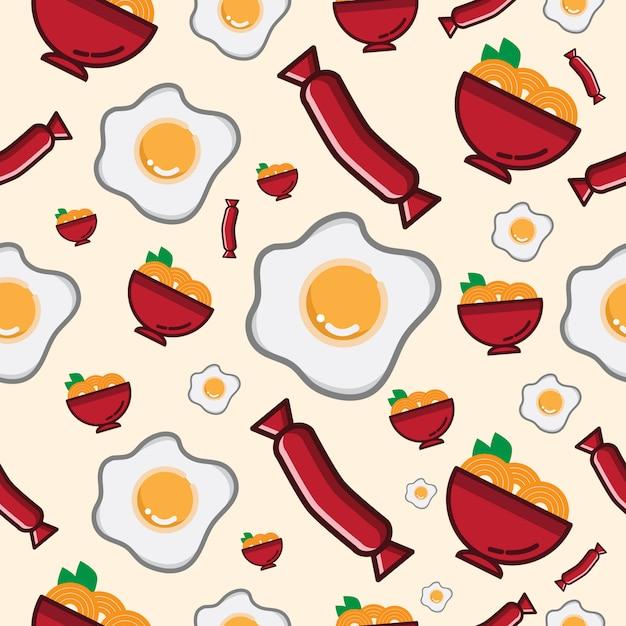 シームレスパターンの麺と卵 Premiumベクター