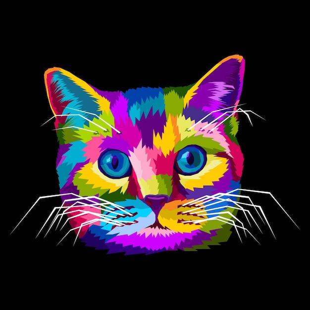Красочный кот животное поп-арт портрет векторная иллюстрация Premium векторы