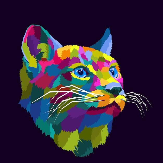 Красочный кот поп-арт портрет векторные иллюстрации Premium векторы