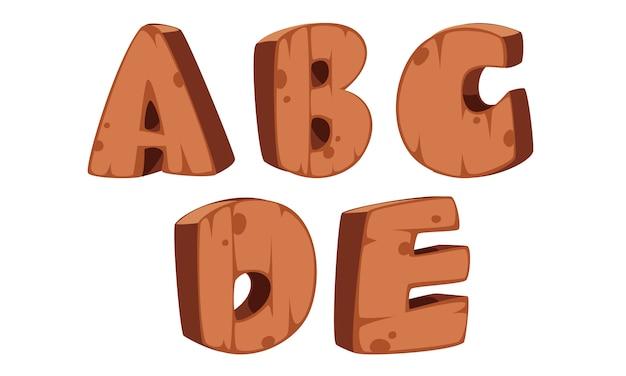 木製アルファベットa、b、c、d、e Premiumベクター