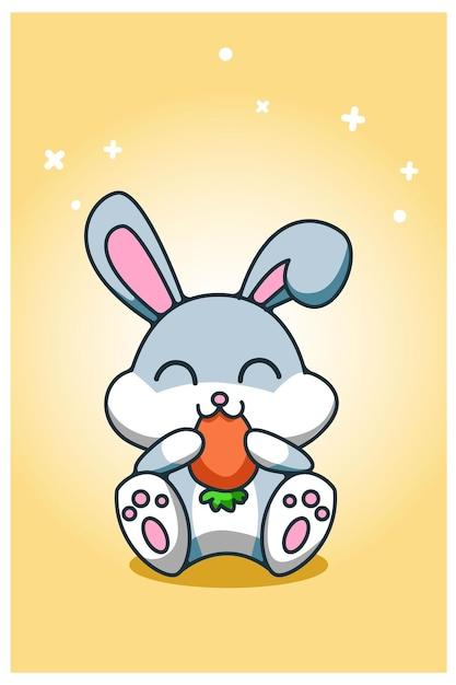 赤ちゃんウサギはニンジンの手描きを食べる Premiumベクター