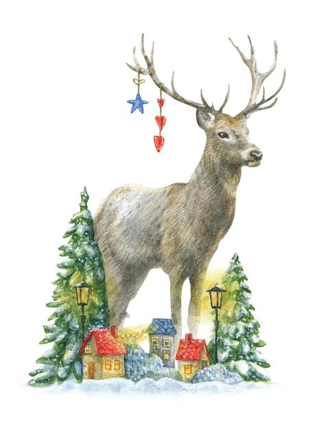 Красивый рождественский олень стоит у заснеженных деревьев и разноцветных домов с желтыми фонарями. Premium векторы