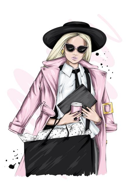 スタイリッシュな服を着た美しい少女。 Premiumベクター