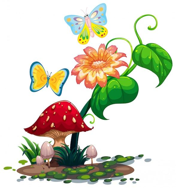 2匹の蝶とキノコの近くの大きな花 無料ベクター