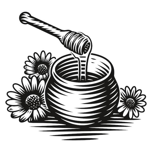 흰색 배경에 스타일 조각에 꿀 냄비의 흑백 그림 프리미엄 벡터