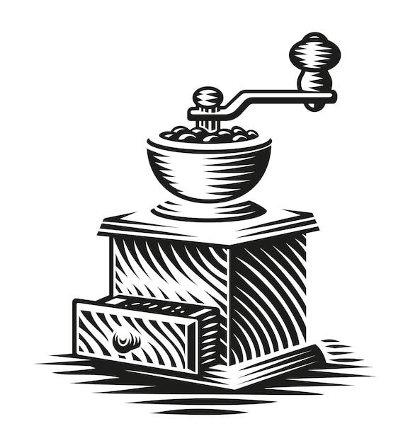 Черно-белая иллюстрация старинной кофемолки в стиле гравюры Premium векторы