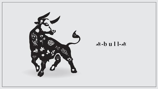 Черный бык с белыми цветами и растениями. Premium векторы