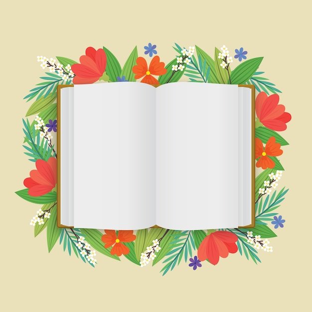 A blank opened white book with flowers in flat style Free Vector