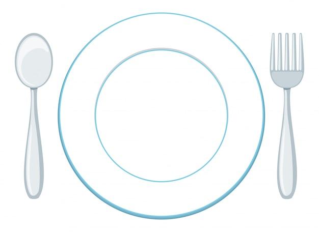 Пустая тарелка с ложкой и вилкой Бесплатные векторы