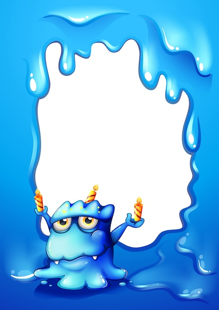 A blue border design with a monster holding candles Vector | Free ...