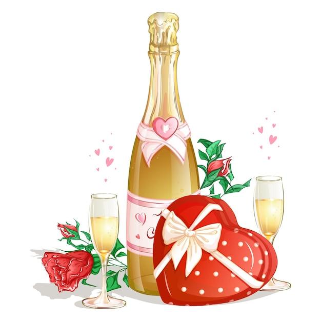 초콜릿 한 상자, 와인 두 잔, 빨간 장미와 함께 샴페인 한 병. 프리미엄 벡터
