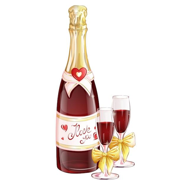 Бутылка красного шампанского с двумя бокалами, украшенными золотыми бантами. Premium векторы
