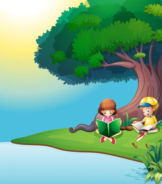 男の子と女の子が木の下で読書 無料ベクター