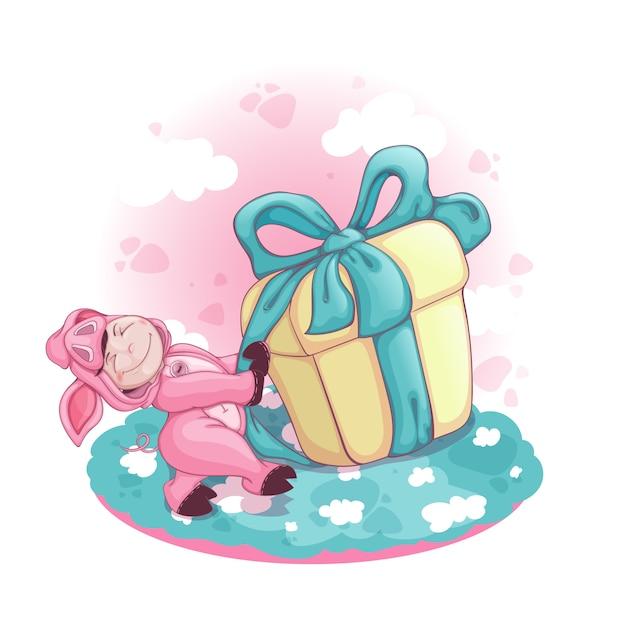 Мальчик в костюме свиньи тянет огромную коробку с подарком. Premium векторы