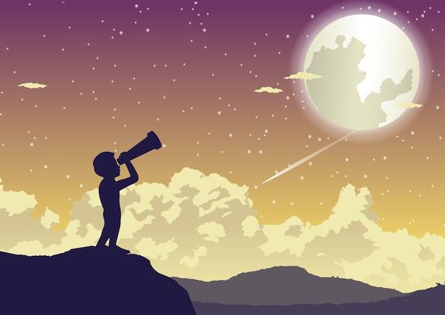 Мальчик смотрит на звезды в прекрасной ночи Premium векторы