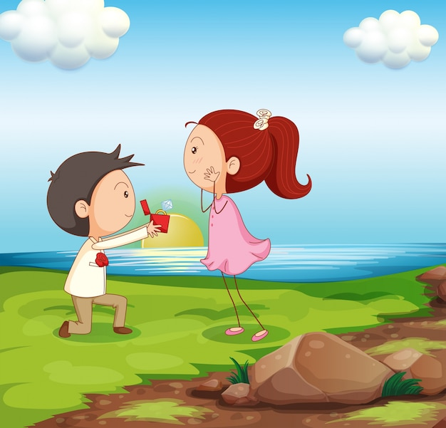 川岸で結婚提案をしている男の子 無料ベクター