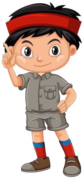 A boy waving wearing a safari outfit  Free Vector