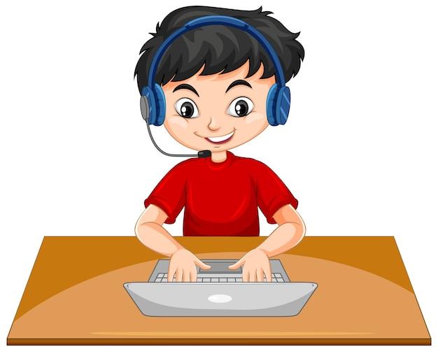 Мальчик с ноутбуком на столе Бесплатные векторы