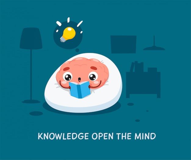 Мозг читает синюю книгу. изолированных иллюстрация Premium векторы