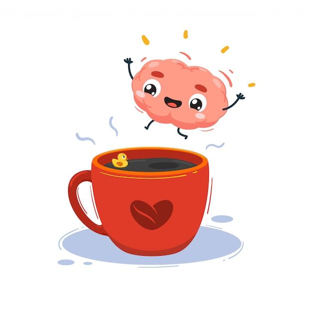 Мозг прыгает в чашку кофе. изолированных иллюстрация Premium векторы