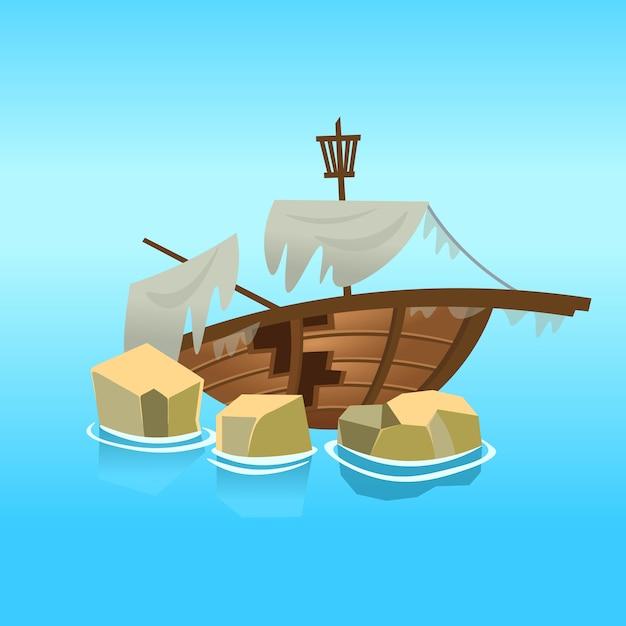 Разбитый корабль в море. иллюстрация. Premium векторы