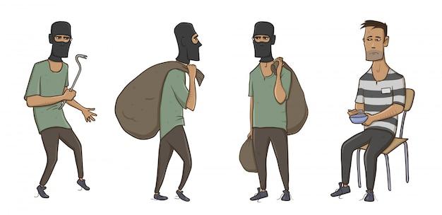 強盗、強盗、泥棒、巨大な袋とバールを備えたバラクラバマスクの男。縞模様の服を着た刑務所の犯罪者。白い背景の上の図。 Premiumベクター