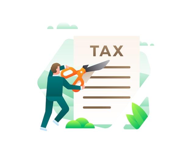 はさみを使用して税務書類をカットするビジネスマン Premiumベクター