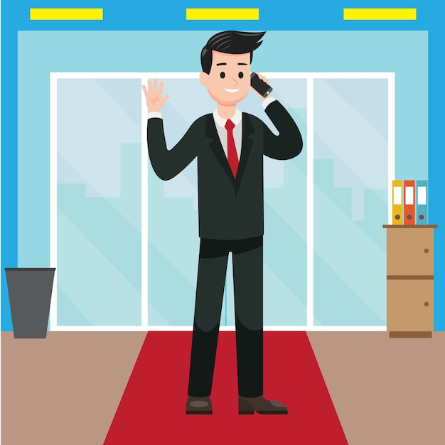彼のオフィスから電話を受けているビジネスマン Premiumベクター