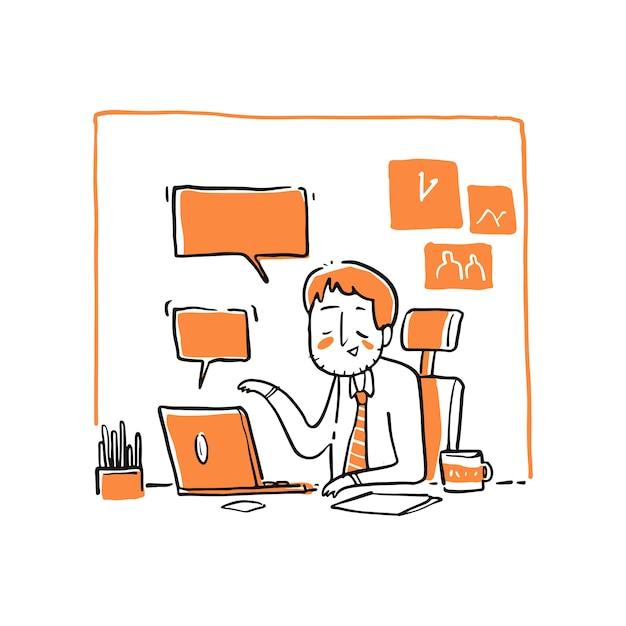 オンライン会議の実業家。 Premiumベクター
