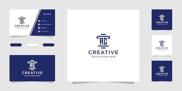 Шаблон дизайна логотипа юридической фирмы ac и визитная карточка Premium векторы