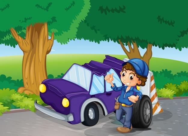 Автомобиль разбился возле больших деревьев Бесплатные векторы